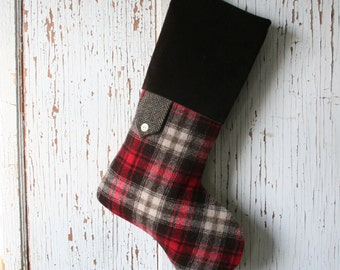 Tartan Plaid CHRISTMAS STOCKING, with Brown Herringbone and Velvet