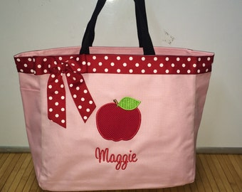 Personalized Teacher Apple Tote Bag Diaper Bag