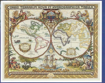 """Olde World Map Janlynn Counted Cross Stitch Kit 015-0223 Designed by Diana Thomas 18"""" x 15"""" Finished Size Perfect for Man Cave"""