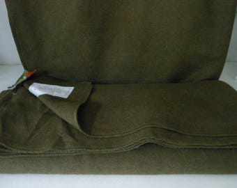 "2 Military Style Blankets Army Olive Green Wool Blend 66"" X 90"" Unused"