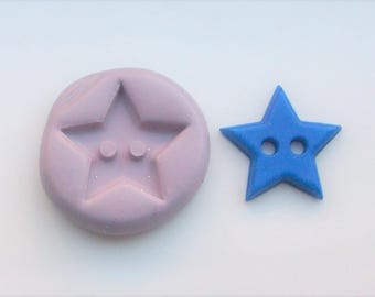 Star button mold #1432 - silicone  mold, craft mold, porcelain mold, jewelry mold, charm mold, metal mold, clays mold, flexible