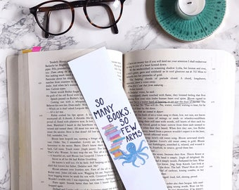 Paper Bookmark. Literary Gift. English Teacher. English Major Gift. Book Lover. Funny Bookmarks. Octopus Illustration.