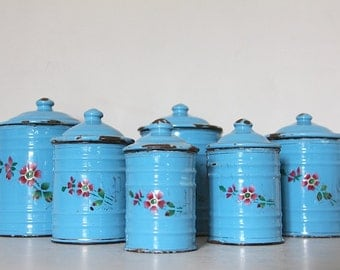 Shabby Chic Antique French Enamel Kitchen Canister Set in Blue with Floral Design and Gothic Lettering