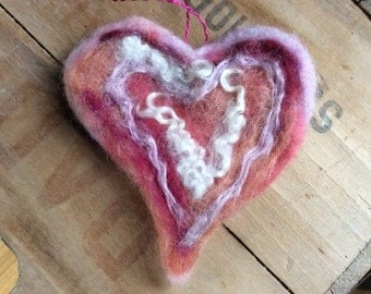 Whimsical Needle Felted Valentine's Day Heart Ornament