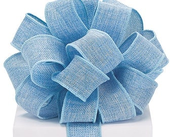 """Wired Ribbon, 1.5"""" by the yard, Blue poly burlap Ribbon~ Use  for Wreaths~Wedding~Arrangement-Scrap-booking~Beautiful colors, Any Season"""