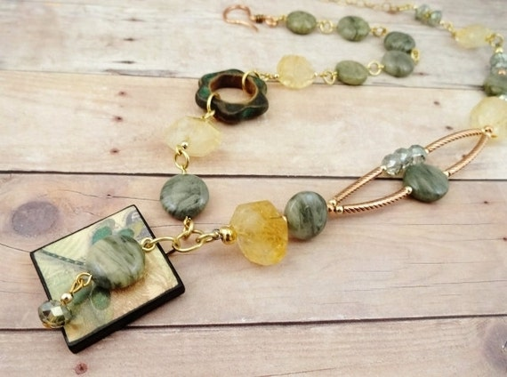 Boho Citrine, Green Line Jasper, Ceramic & Dragonfly Necklace
