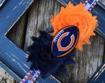 Chicago Bears Blue Orange Football Shabby Flower Headband Babies Toddlers Girls