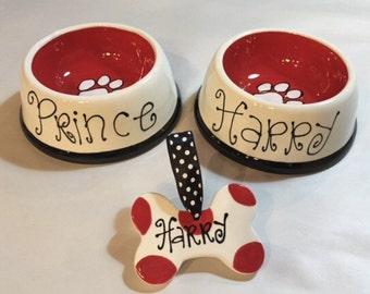 2 Pampered Pet Dog Bowls + Matching Personalized Polka Dot Dog Bone