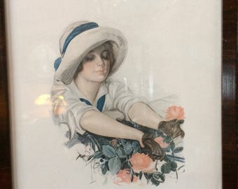 Harrison Fisher Roses Extremely Rare Print 12x15