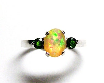 """Ethiopian opal, opal accent ring, opal 3 stone ring, opal ring, orange yellow green,  anniversary, s 7   """"Scent of a Rainbow"""""""