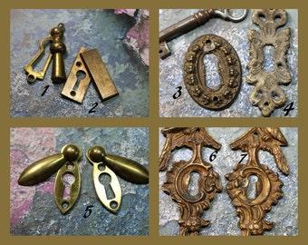 1 Vintage Brass Key Hole Escutcheon