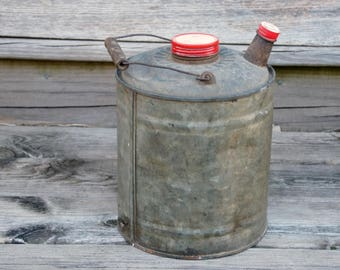 Vintage Gas Can, Galvanized Metal, Garage Decor, Rustic Patina, Red Lid Cap