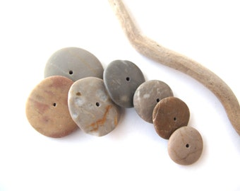 Rock Donut Beads Mediterranean Pebble Beach Stone Spacers Center Drilled Natural Stone Cairn River Stone Beads SOFT WHEELS 17-22 mm