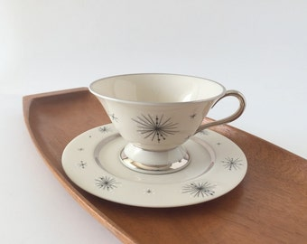 MCM Atomic Starburst China, Cup and Saucer, Romance of the Stars, Set of 2 or 4