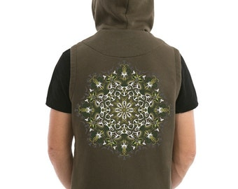 Men's Vest With Hood Uv Reactive Mandala Psychedelic Festival Vest Psy Trance Goa Wear Glow In The Dark Clothing