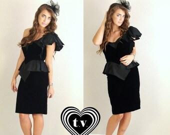 60% Off Sale vtg 80s Black Velvet ONE SHOULDER peplum Mini DRESS cocktail xxs avant garde party asymmetrical