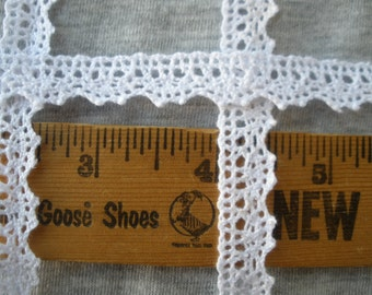 "Bright White Cotton Cluny Lace Dainty 1/2"" wide 13mm Trim Choose yards Vintage look cotton lace scalloped edge retro crochet bobbin"
