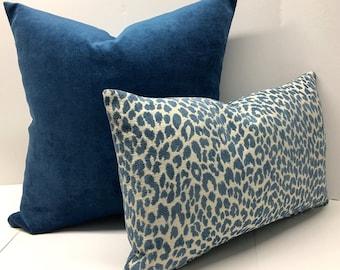 Blue Velvet and Deft Blue Chenille Cheetah Animal Pillow Covers