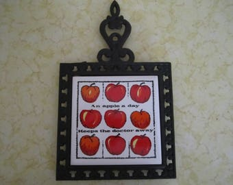 Vintage Apple Trivet Tile and Cast Iron An Apple A Day Keeps the Doctor Away Kitchen Decor Wall Art