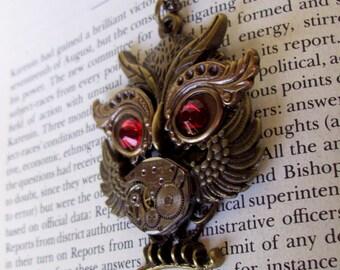 Steampunk Necklace (N646) Owl Pendant, Dame Edna Owlet, Steampunk Owl, Swarovski Crystals, Brass Chain