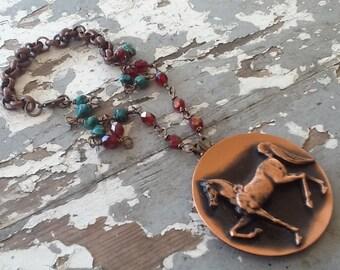 Horse Repurposed Necklace Vintage Horse Pendant Copper Turquoise Assemblage