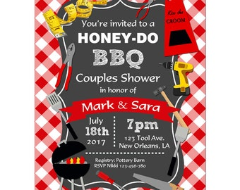 Honey Do Barbeque Invitation Printable or Printed with FREE SHIPPING - Honey-Do BBQ Collection