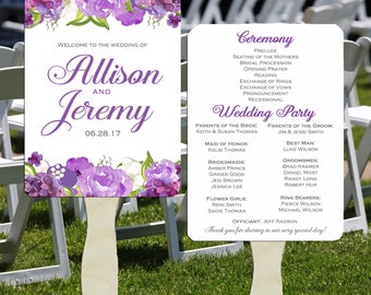 Wedding Program Fans Printable or Printed with FREE Shipping - Majestic Purple Floral Collection