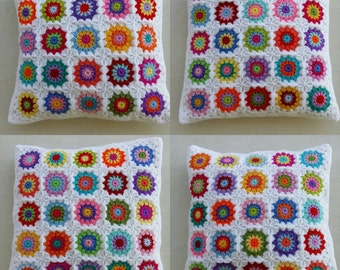4 colorful crochet granny square cushion covers in white edging