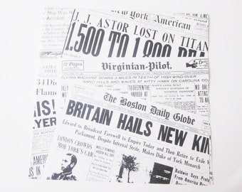 Vintage Wrapping Paper - Extra Extra Newspaper Gift Wrap - Tie Tie CPS - Good News Bad News