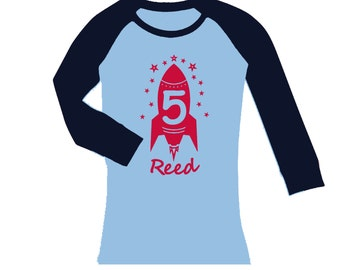 Personalized Rocket Birthday shirt - cropped/long sleeve fitted raglan shirt - any age and name - pick your colors!