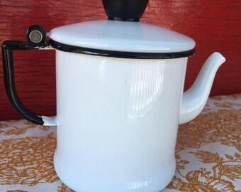 Vintage enamelware gooseneck two cup teapot