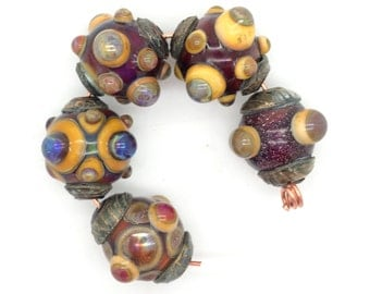 Ancient Jeweled Beads Handmade Lampwork with Bronze Bead Caps