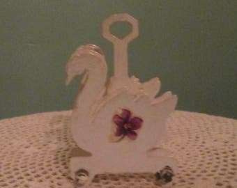 Vintage White Swan Mail Holder / 60s Office Mail Organizer With Handle