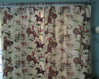 1950s Cowboys Bucking Broncos Barkcloth Curtains Pair / Rare Old West Curtains