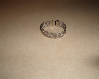 vintage bracelet cuff braided silvertone