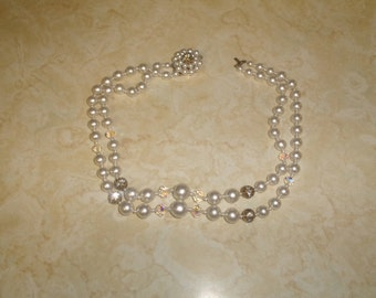 vintage necklace double strand faux pearls aurora borealis glass rhinestones