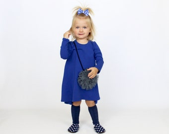 Royal Blue Hi-Low Long Sleevs Dress | T-Shirt Dress  | 0/3m - 5/6 | Everyday Dress | Baby and Toddler Dress