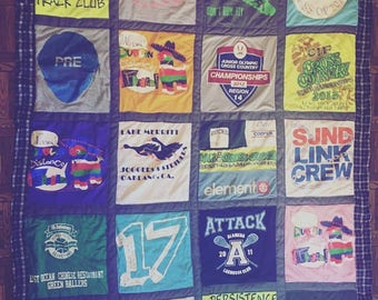 Tshirt Quilt Windowpane Style- Custom Order DEPOSIT - Send Me Your Shirts and I'll Make You a Quilt!