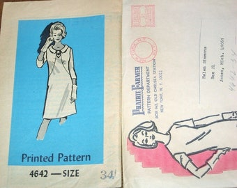 Vintage 1960s Prairie Farmer Mail Order Sewing Pattern 4642 Sheath Dress Shaped Front Seam Detail Portrait Collar Womens Miss Bust 38 Uncut