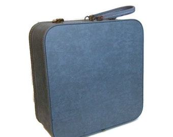 60s Blue Suitcase Square Blue Suitcase Square Suitcase Vintage Luggage 1960s Luggage Made in Canada Blue Baggage