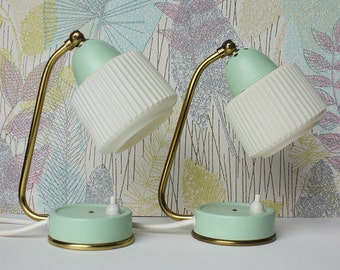 Pair of 1950s Vintage Midcentury Modern Table Lamps. Mint Green White Lampshade, Brass Details. MCM Lighting