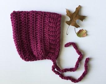 ELLIOT - crochet pixie baby bonnet - raspberry - MADE to ORDER