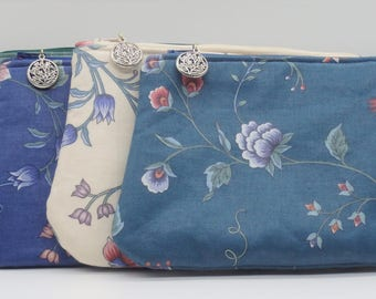 Cosmetic Clutch Set, Bridesmaid Gifts, Makeup Bags, Floral Bags, Gifts for Her, Make-Up Bag, Travel Case, Ditty Bag, Gifts for Brides