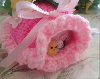 "Ready to ship - Crochet Sugar Easter Eggs Diarama Panoramic Egg Large 5 1/2"" X 4 1/2"" X 4"" Hand Crocheted"