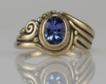 R1050- 14ky Gold Tanzanite Ring- One of a Kind