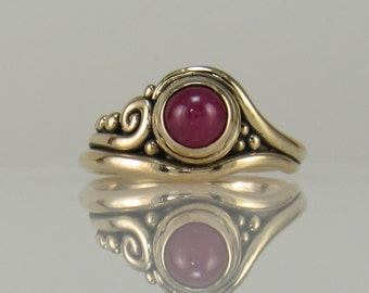 R1062- 14ky Ruby Cabochon Ring- One of a Kind
