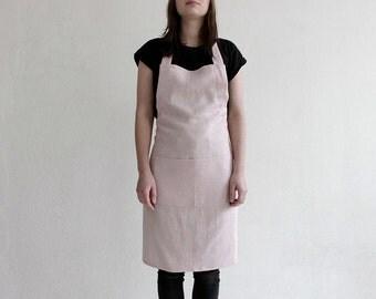 Dusty rose apron, Neutral light pink apron, Soft linen apron, Full apron, Apron with pockets, Women's aprons