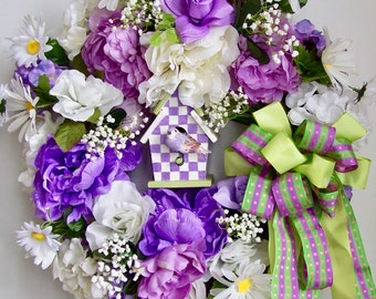 Spring Wreath, Easter Wreath, Mother's Day Wreath, Bird House Wreath, Summer Wreath, Bird Wreath, Door Wreath, peony Wreath, Purple Wreath