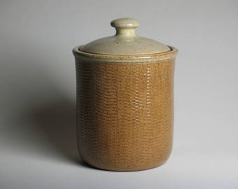 Canister, dog treat jar, cookie jar with gear texture