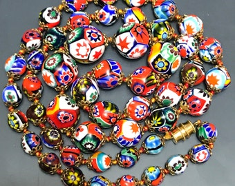 Vintage Italian Murano Ventetian milliefiori glass bead necklace 28 inches graduated beads  No.00360